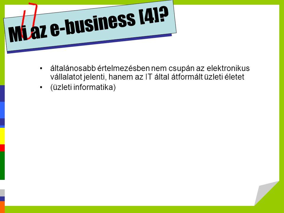 Mi az e-business [4] általánosabb értelmezésben nem csupán az elektronikus vállalatot jelenti, hanem az IT által átformált üzleti életet.
